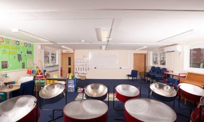 SiBCAS Modular Music Classroom, Rolls Crescent Primary school, Manchester, UK