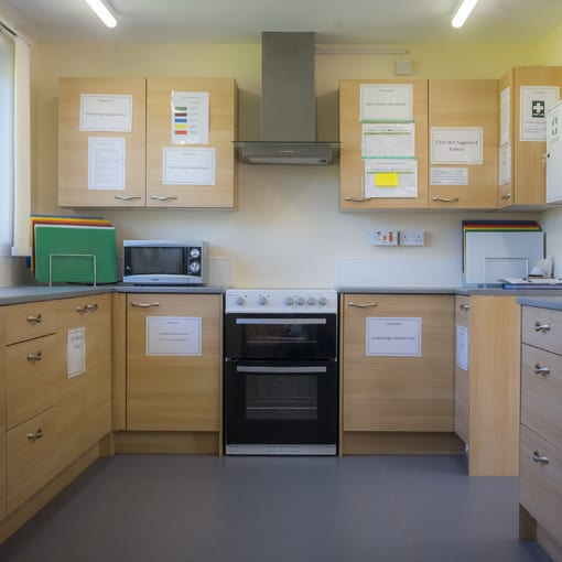 Modular Nursery - internal image of kitchen at Bonnybridge Nursery Campus. Modular Construction by SiBCAS UK