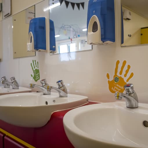 Modular Nursery - internal image of sinks at Bonnybridge Nursery Campus. Modular Construction by SiBCAS UK