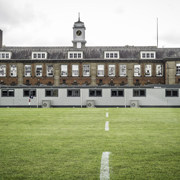 An image of SiBCAS modular PermaSpace classrooms at Newcastle Royal Grammar School, image taken from the rugby pitch .